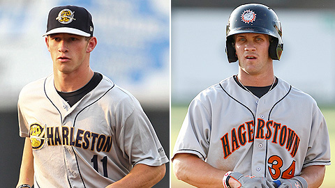 Slade Heathcott (l) and Bryce Harper are among the top outfielders.
